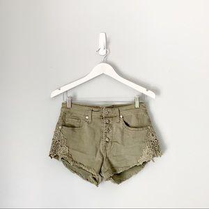 Mossimo Green Cutoff Denim Lace Shorts